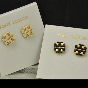 NWT Authentic Tory Burch T Logo Stud Earrings